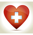 Red Heart cross vector image