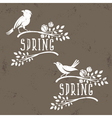 Set of labels of spring birds in branches with vector image vector image