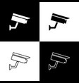 set security camera icons isolated on black and vector image