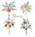 set wedding bouquets collection wild and vector image vector image