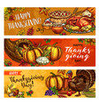 thanksgiving day greeting banners sketch vector image vector image