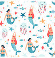 underwater inhabitants flat seamless vector image
