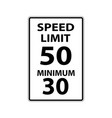 usa traffic road signs max speed 50 mphmimimum vector image