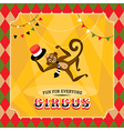 Vintage circus card with a monkey vector image vector image