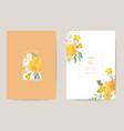 wedding floral card yellow spring flowers vector image vector image