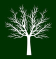 white tree on green background outline vector image vector image