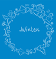 Winter Outline Objects On Round Frame vector image