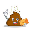 with envelope poop emoticon character cartoon vector image vector image