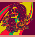 woman skull with roses art vector image vector image
