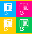 communication or phone sign four styles of icon vector image