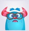 cartoon yeti monster wearing glasses vector image