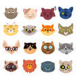 fun cartoon cat faces cute kitten portraits vector image