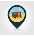 Camping trailer pin map icon Summer Vacation vector image