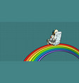 astronaut sits on a rainbow vector image vector image