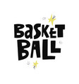 basketball hand drawn lettering vector image