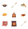 bbq equipment icons set cartoon style vector image vector image