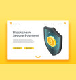 blockchain secure payment landing page isometric vector image vector image