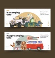 camping banner design with van guitar hiking vector image vector image