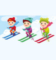 children skiers enjoying snow landscape vector image