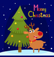 christmas greeting card with cute cartoon reindeer vector image