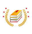 color emblem with stacking books and olive branchs vector image vector image
