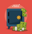 colorful poster with safe box and money profit vector image vector image