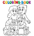 coloring book family theme vector image vector image