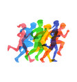 crowd people run marathon in vector image vector image