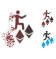 Dissipated pixel halftone person climb ethereum
