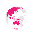 earth globe with pink world map focused on vector image vector image