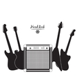 electric guitars and combo amp hard rock vector image vector image