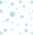 falling blue snowflakes repeating seamless vector image