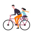 father rides bicycle with daughter in carf behind vector image