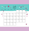 february 2019 wall calendar doodle style vector image