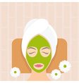 Flat design woman in natural mask vector image