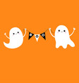 flying ghost spirit holding bunting flag boo two vector image vector image