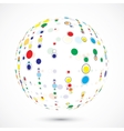 Globe consist of color circles vector image