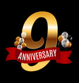 golden 9 years anniversary template with red vector image vector image