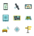 GPS map icons set flat style vector image