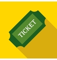 Green paper ticket icon flat style vector image vector image