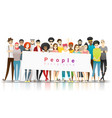 group multi ethnic people holding empty banner vector image vector image