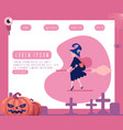 halloween design in flat style - witch in dark vector image