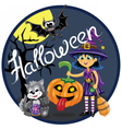 Halloween scene Witch with pumpkin cat and bat vector image vector image
