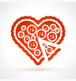 heart shaped pizza st valentines day design vector image