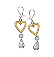 Hearts earrings vector image vector image
