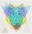 hipster polygonal animal wolf on artistic vector image vector image
