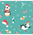 holiday pattern with funny penguins and elements vector image vector image