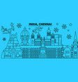 india chennai winter holidays skyline merry vector image vector image
