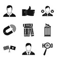 international relation icons set simple style vector image vector image