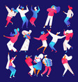 isolated on blue backround dancing and playing vector image